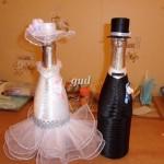 свадебные бутылки, свадебный наряд на бутылки шампанского, наряд на шампанское